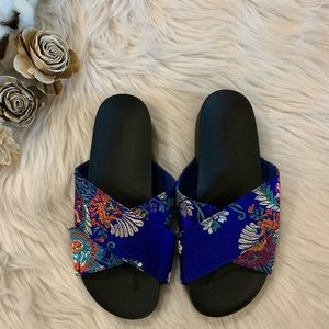 Satin Floral Criss Cross Sandals